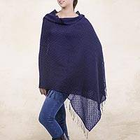 100% alpaca shawl, 'Navy Blue' - Hand Made Alpaca Wool Wrap Shawl in Navy Blue
