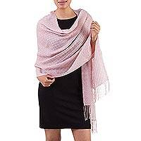 100% alpaca shawl, 'Pink Dawn' - Hand Made Alpaca Wool Wrap Shawl in Pink