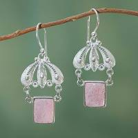 Rhodonite filigree earrings, 'Pink Empress' - Andean Silver Filigree Earrings with Rhodonite