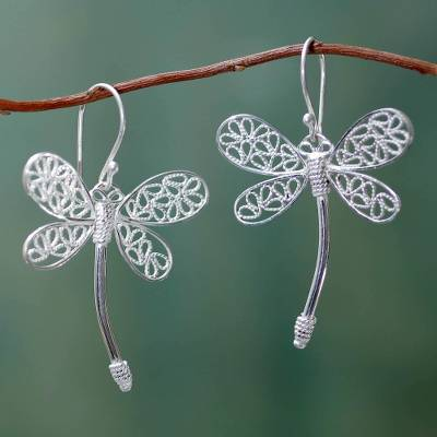 Sterling silver filigree earrings, 'Tinti Kaballu' - Sterling Silver Filigree Dragonfly Earrings