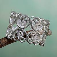 Sterling silver filigree band ring, 'Catacaos Hearts'
