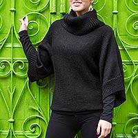 Alpaca blend sweater, 'Icas Night' - Black Alpaca Blend Turtleneck Sweater