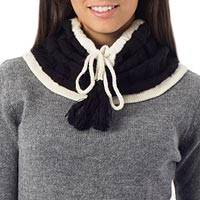 100% alpaca neck warmer, 'Flirting in Black' - Alpaca Knit Neck Warmer from Peru