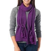 100% alpaca scarf, 'Purple Andean Orchid' - Alpaca Knit Scarf from Peru