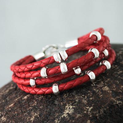 Leather wristband bracelet, 'Scarlet Union' - Leather Wristband Bracelet with Sterling Silver Accents