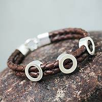Leather wristband bracelet, 'Earthly Vision' - Brown Leather and Sterling Silver Wristband Bracelet