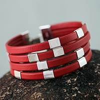 Leather wristband bracelet, 'Code Crimson' - Red Leather and Sterling Silver Wristband Bracelet