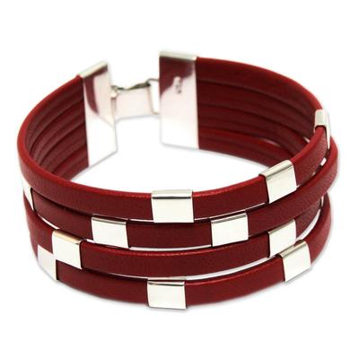 Leather wristband bracelet, 'Code Crimson' - Red Leather and Sterling Silver Wristband Bracelet