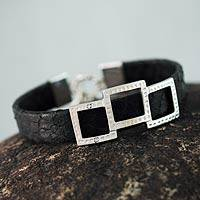 Leather wristband bracelet, 'Complex Black' - Handmade Leather and Sterling Silver Wristband Bracelet