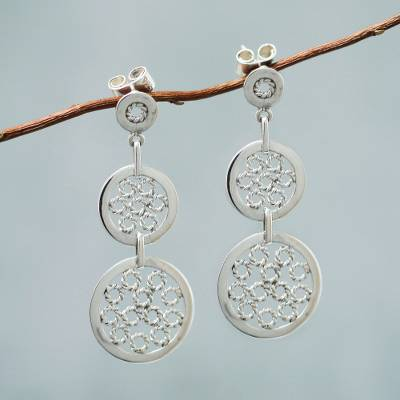 Sterling silver dangle earrings, 'Moonlit Honeycombs' - Modern Sterling Silver Earrings from Peru