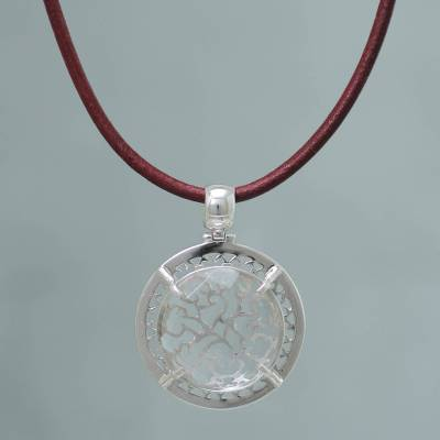 Quartz and Sterling Silver on Leather Necklace 'Soul of Lima' (Peru)