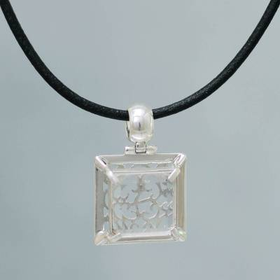 Quartz pendant necklace, 'Charm of Lima' - Artisan Crafted Clear Quartz Necklace Peru Jewelry