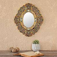 Reverse painted glass wall mirror, 'Garden Gold' - Handcrafted Andean Reverse Painted Glass Wall Mirror