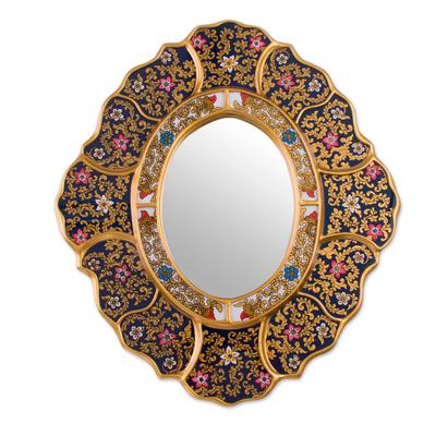 Reverse painted glass wall mirror, 'Garden Gold' - Handcrafted Andean Reverse Painted Glass Wall Mirror