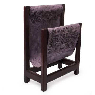 Leather and cedar wood magazine rack, 'Historic Elegance in Lilac' - Handcrafted Leather and Cedar Wood Magazine Rack