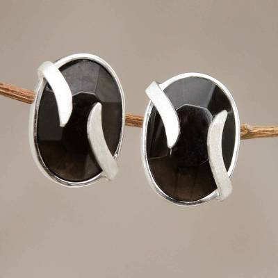 Obsidian button earrings, 'Andean Breeze' - Obsidian Earrings Artisan Crafted Peru Silver Jewelry