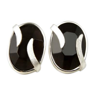Obsidian button earrings, 'Andean Breeze' - Obsidian Earrings Artisan Crafted Peru Silver Jewelry