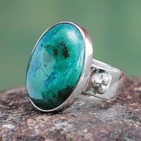 Chrysocolla cocktail ring, 'Living Planet' - Green Chrysocolla and Sterling Silver Woman's Ring