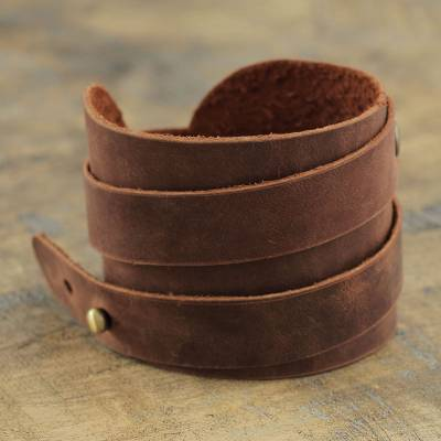 Mens leather wrap bracelet, Wari Warrior in Brown