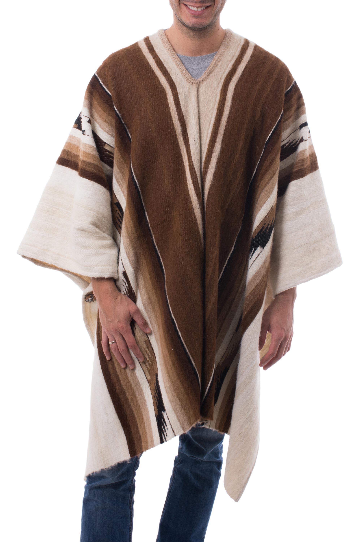 Men's Handowen Alpaca Wool Poncho, 'Inca Chief'
