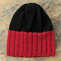 Alpaca blend hat, 'Bold Red' - Red and Black Alpaca Blend Hat