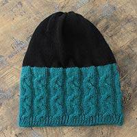 Alpaca blend hat, 'Turquoise Flow' - Turquoise and Black Alpaca Blend Hat