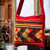 Wool shoulder bag, 'Sunrise in Paracas' - Handwoven Wool  Shoulder Bag from Peru