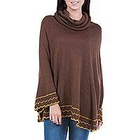 Alpaca blend poncho, 'Andean Warmth' - Handcrafted Alpaca Wool Brown Poncho from Peru