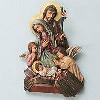 Cedar wall sculpture, 'Angel Nativity' - Artisan Crafted Christmas Wall Sculpture from Peru