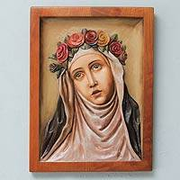 Cedar relief panel, 'Saint Rose of Lima' - Santa Rosa de Lima Relief Panel