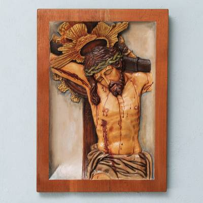 Cedar relief panel, 'Christ Our Help' - Cedar Relief Panel of Jesus on the Cross