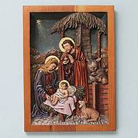 Cedar relief panel, 'Nativity' - Cedar Relief Panel of the First Christmas