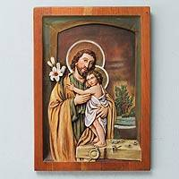 Cedar relief panel, 'Jesus and Joseph by the Window' - Hand Painted Carved Cedar Wood Relief Panel
