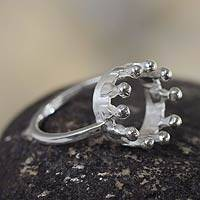 Sterling silver cocktail ring, 'Coronation' - Modern Sterling Silver Women's Ring from Peru