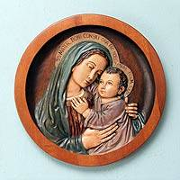 Cedar relief panel, 'Mary, Mother of Good Counsel' - Virgin Mary Relief Panel