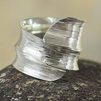 Sterling silver wrap ring, 'Bold Textures'