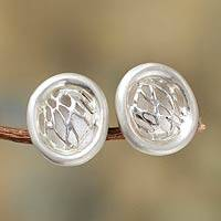 Sterling silver button earrings, 'Play of Light' - Sterling Button Earrings