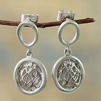 Sterling silver dangle earrings, 'Play of Light' - Peruvian Silver Earrings