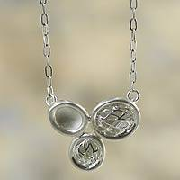 Sterling silver pendant necklace, 'Play of Light' - Handmade Andean Silver Necklace