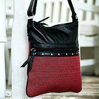 Leather accent cotton shoulder bag, 'Huamanga' - Handwoven Red Shoulder Bag with Black Leather Trim