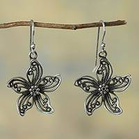 Sterling silver flower earrings, 'Iris Wonder' - Fair Trade Earrings Peruvian Sterling Silver