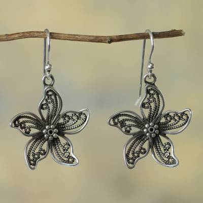 Sterling silver flower earrings, 'Iris Wonder' - Fair Trade Earrings Peruvian Sterling Silver