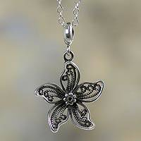 Sterling silver flower necklace, 'Iris Wonder' - Artisan Crafted Sterling Silver Peruvian Necklace