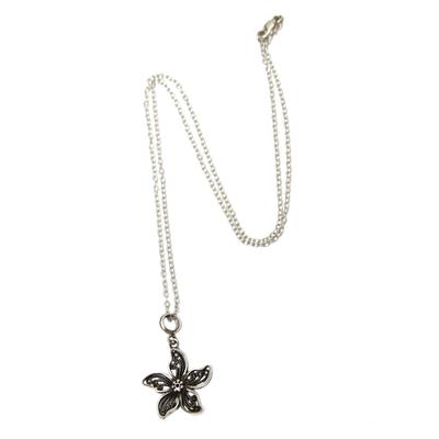 Sterling silver flower necklace, 'Iris Wonder' - Artisan Crafted Sterling Silver Peruvian Necklace