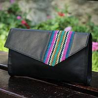 Leather with wool accent clutch, 'Cuzco Rainbow' - Black Leather Clutch Bag with Wool Panel