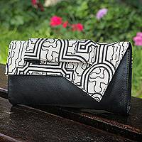 Leather and cotton clutch, 'Monochrome Shipibo' - Black Leather Clutch Bag with Assymetrical Cotton Flap