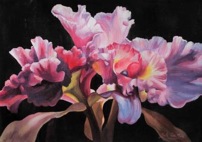 'Warm Tenderness' - Pink and Lilac Orchids Signed Original Painting from Peru