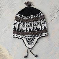 Alpaca blend chullo hat, 'Llama Silhouette' - Andean Chullo Hat in Black and White Natural Yarns