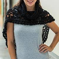 Alpaca blend capelet, 'Midnight Princess' - Black Alpaca Blend Capelet with Turtleneck Crocheted by Hand