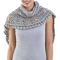 Alpaca blend capelet, 'Cloud Princess' - Grey Alpaca Blend Capelet with Turtleneck Crocheted by Hand